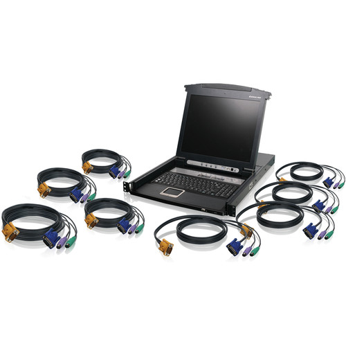 IOGEAR 8-Port LCD Combo KVM Switch with PS/2 KVM Cables