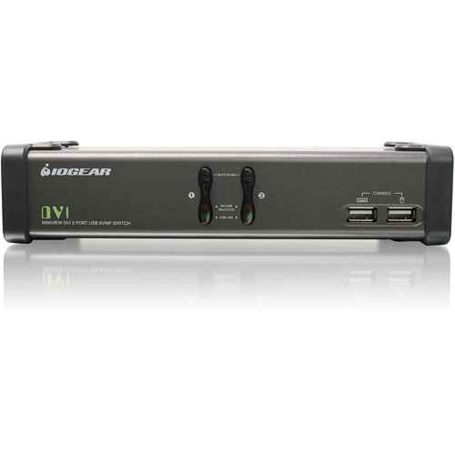 IOGEAR GCS1102 2-Port USB DVI KVMP Switch with Audio and Cables