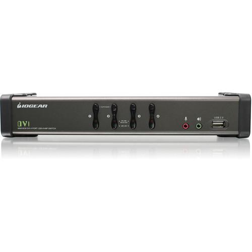 IOGEAR GCS1104 4-Port USB DVI KVMP Switch with Audio and Cables