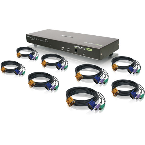 IOGEAR 8-Port USB PS/2 Combo KVMP Switch With PS/2 KVM Cables