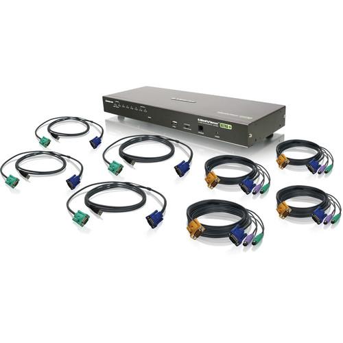 IOGEAR 8-Port USB PS/2 Combo KVM Switch Kit with Four PS/2 KVM Cables and Four USB KVM Cables