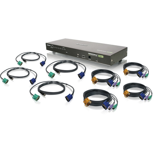 IOGEAR 8-Port USB PS/2 Combo KVM Switch Kit with Four PS/2 KVM Cables and Four USB KVM Cables