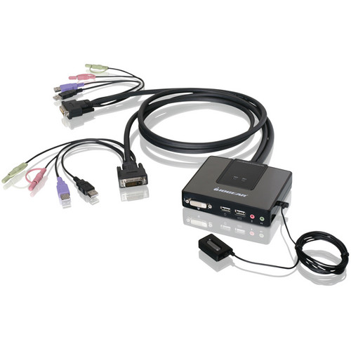 IOGEAR 2-Port Dual-Link DVI Cable KVM with Audio