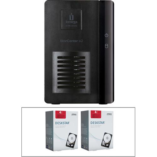 Iomega StorCenterix2-dl 2-Bay Diskless NAS & 8TB Hitachi Deskstar HDD Kit
