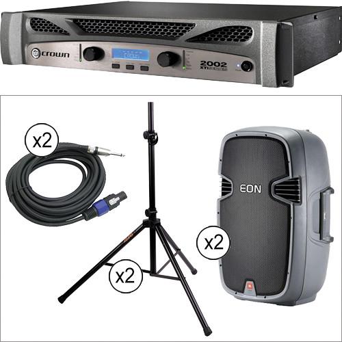 "JBL EON 305 Passive 15"" Speakers with Crown Power Amplifier Kit"