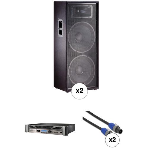 "JBL JRX225 Dual 15"" Two-Way Speakers with Crown Power Amplifier Kit"