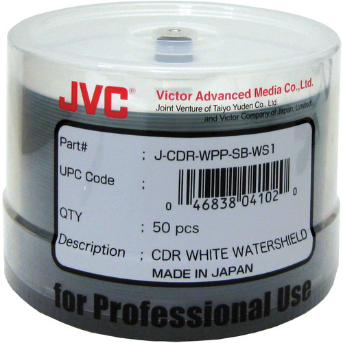 JVC 52x Recordable Inkjet Hub Printable Watershield CD-R (White, 50-Pack Spindle)