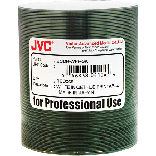 JVC Premium 52x Recordable White Hub Inkjet Printable CD-R (100-Pack)