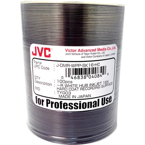 JVC Hardcoat 16x Recordable White Hub Inkjet Printable DVD-R (100-Pack)