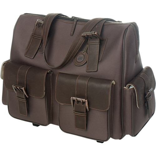 Jill-E Designs Jack Large Rolling Brown Columbian Leather Camera / Carry Bag (Brown)