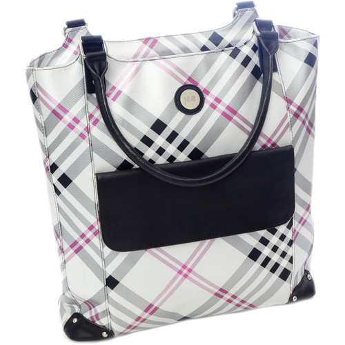Jill-E Designs Laptop Tote (Black/Silver Plaid)