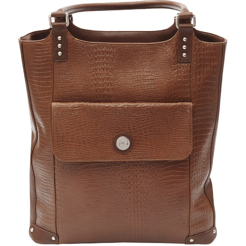 Jill-E Designs Laptop Tote - Brown Croc Leather