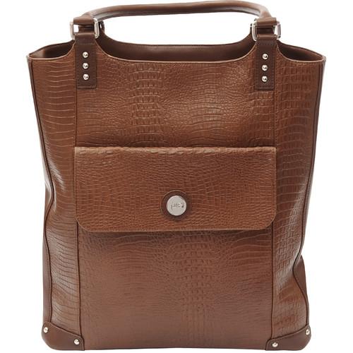 Jill-E Designs Laptop Tote - Brown Croc Leather