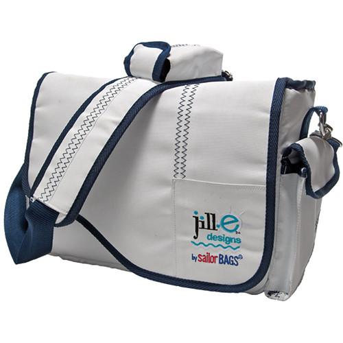 Jill-E Designs Sailcloth Messenger Bag (White with Navy Blue Accents)
