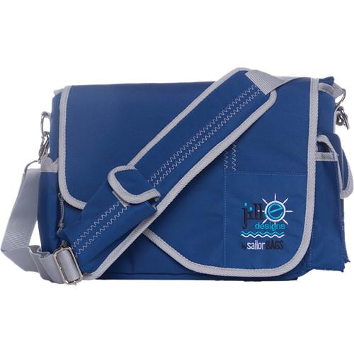 Jill-E Designs Sailcloth Messenger Bag (Blue with Gray Accents)
