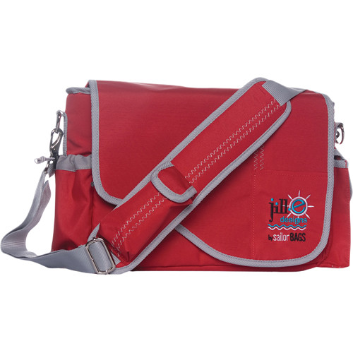 Jill-E Designs Sailcloth Messenger Bag (Red with Gray Accents)