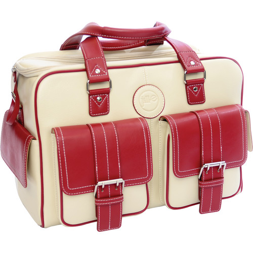 Jill-E Designs Medium Bone and Red Leather Camera/Carry-All Bag
