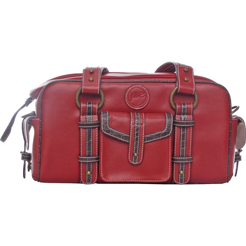 Jill-E Designs Small Camera Bag (Red with Croc Trim)