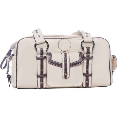 Jill-E Designs Small Camera Bag (Bone with Croc Trim)