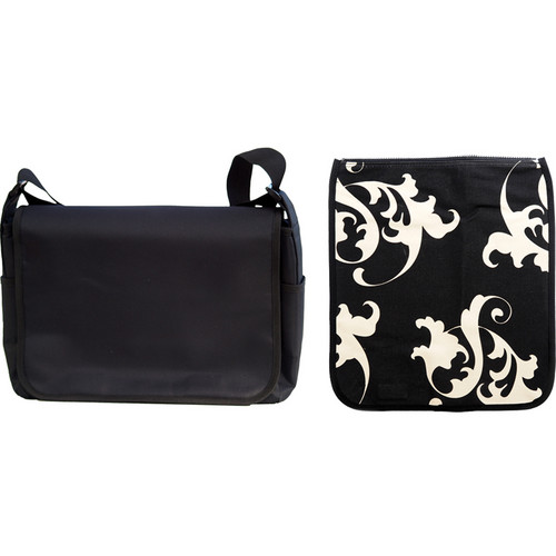 Jill-E Designs Messenger Style Carry-all Camera Bag (Black with Baroque Pattern Cover)