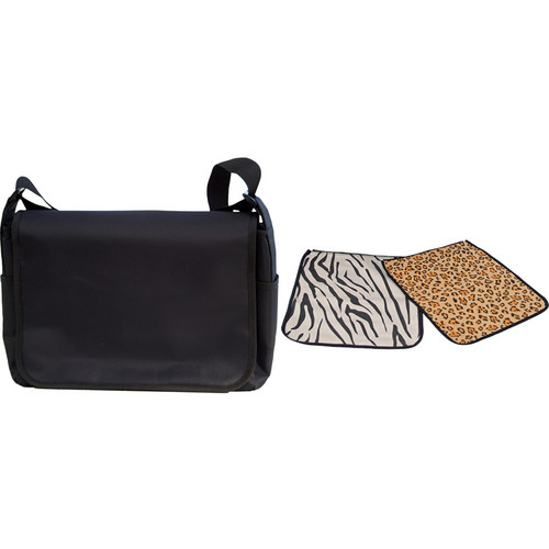 Jill-E Designs Messenger Style Carry-all Camera Bag (Black with Zebra and Leopard Covers from the Safari Collection)