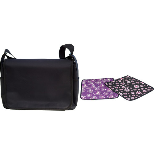 Jill-E Designs Messenger Style Carry-all Camera Bag (Black with Daisy and Macintosh Covers from the Fun and Fancy Collection)