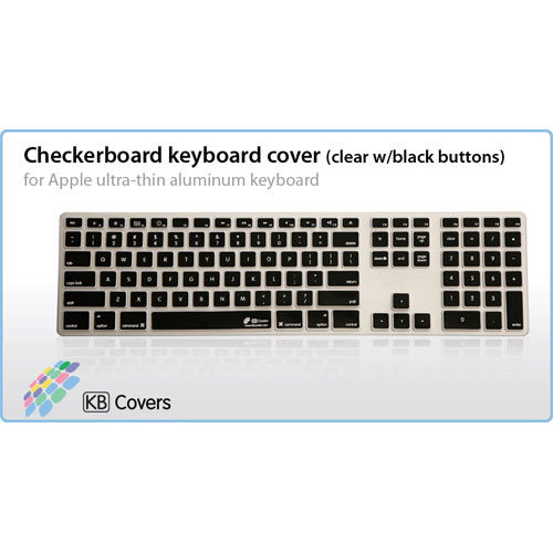 KB Covers Checkerboard Keyboard Cover for Apple Ultra-Thin Aluminum Keyboard (Clear with Black Buttons)