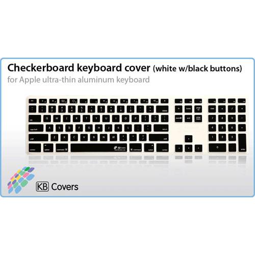KB Covers Checkerboard Keyboard Cover for Apple Ultra-Thin Aluminum Keyboard (White with Black Buttons)