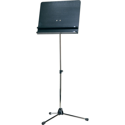 K&M Orchestra Nickel Music Stand with Black Wooden Desk & 1 Shelf