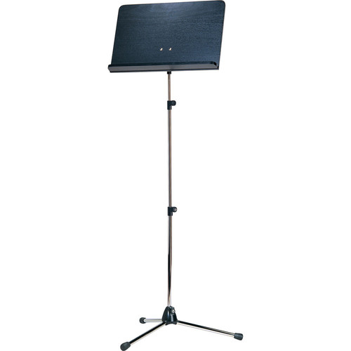K&M Orchestra Nickel Music Stand with Black Wooden Desk (Long Shaft)