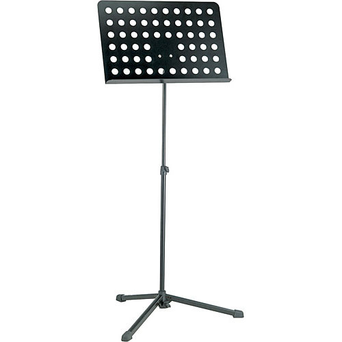 K&M 12179 Perforated Folding Music Stand with Locking Base (Black)
