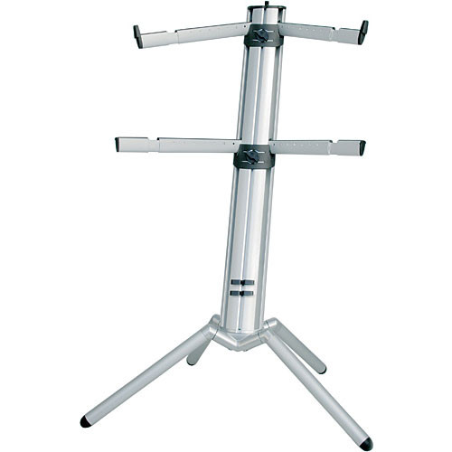 K&M 18860 Spider-Pro Double-Tier Keyboard Stand with Microphone Boom Connection and Tilt Action (Silver)