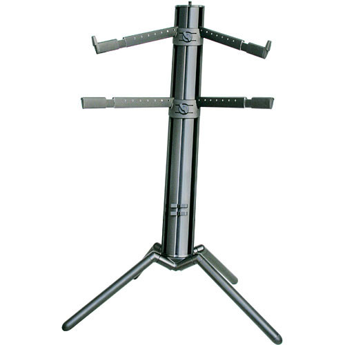 K&M 18860 Spider-Pro Double-Tier Keyboard Stand with Microphone Boom Connection and Tilt Action (Black)