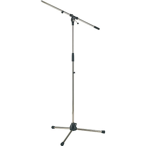 K&M 21020 Tripod Microphone Stand with Boom (Nickel)