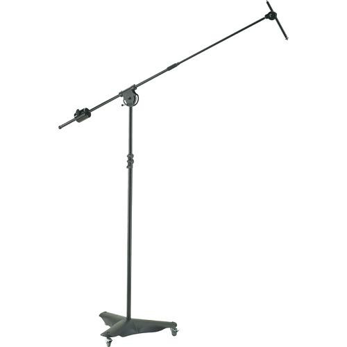 K&M 21430 Mobile Overhead Microphone Stand with Caster Base (Black)