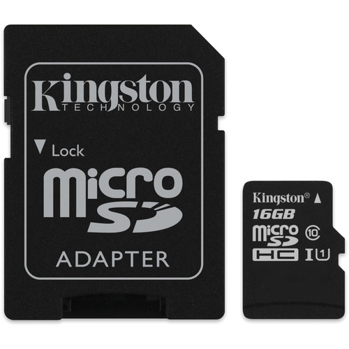 Kingston 16GB microSDHC Memory Card Class 10 with SD Adapter
