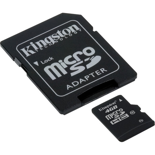 Kingston 4GB microSDHC Memory Card Class 10 with SD Adapter