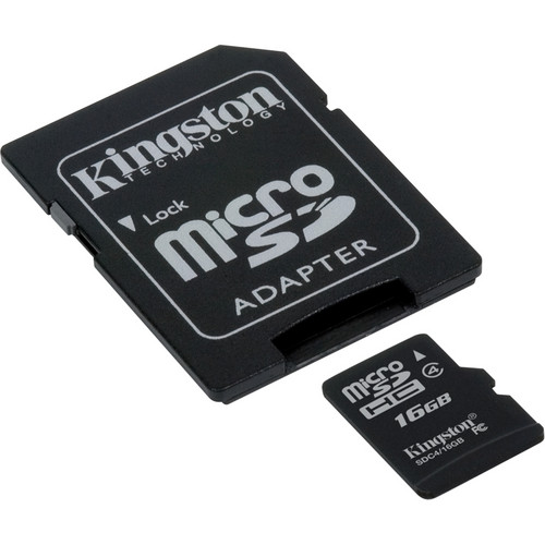 Kingston 16GB microSDHC Memory Card Class 4 With SD Adapter