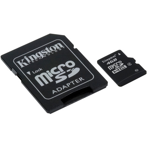 Kingston 4GB microSDHC Memory Card Class 4 with microSD Adapter