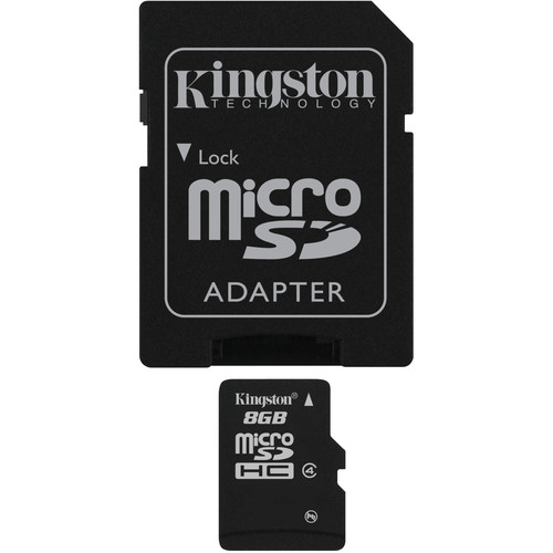 Kingston 8GB microSDHC Memory Card Class 4 With SD Adapter