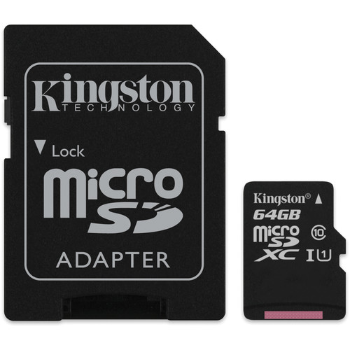 Kingston 64GB microSDXC Memory Card Class 10 with SD Adapter