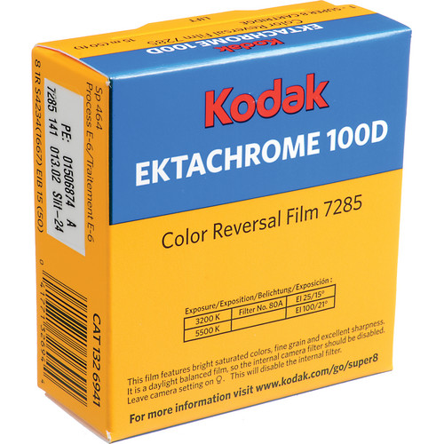 Kodak 7285 Ektachrome 100D Super 8 Silent Film (50')