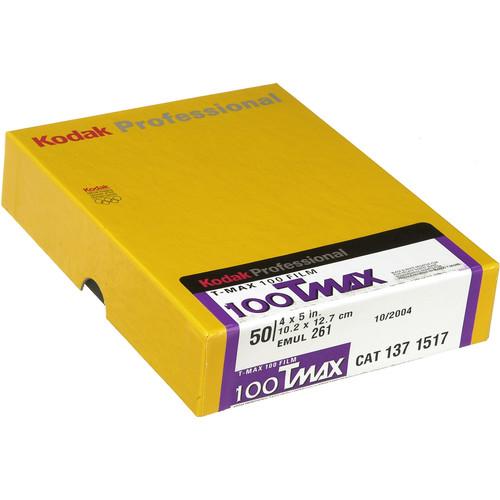 "Kodak Professional T-Max 100 Black and White Negative Film (4 x 5"", 50 Sheets)"
