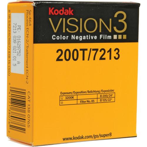 Kodak VISION3 200T Color Negative Film #7213 (Super 8, 50' Roll)