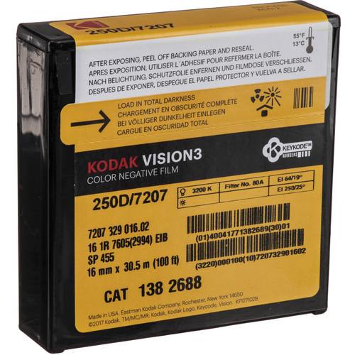 Kodak Vision3 250D #7207 16mm Color Negative Silent Movie Film (100')