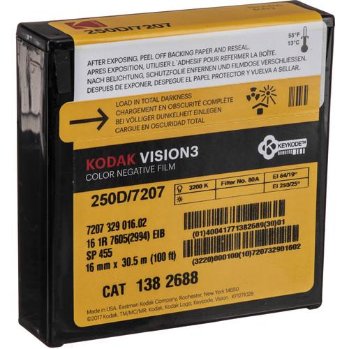 Kodak VISION3 250D Color Negative Film #7207 (16mm, 100' Roll)