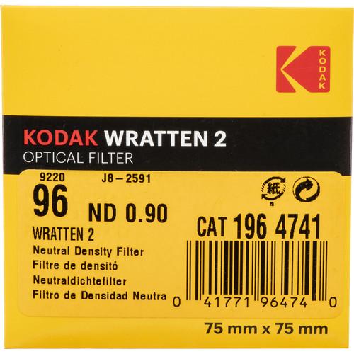 "Kodak 3 x 3"" Neutral Density (ND) #96 0.90 Optical Gelatin Wratten Filter"