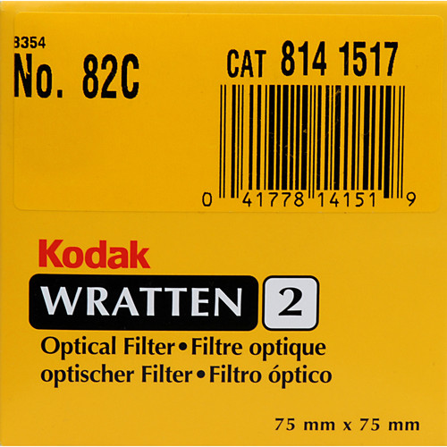 "Kodak 3x3"" (75mm) 82C Color Conversion Wratten 2 Optical Gel Filter"