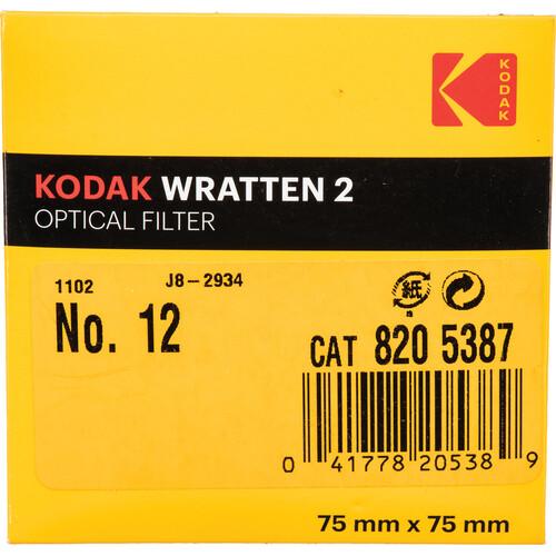 """Kodak 3 x 3"""" #12 Deep Yellow Optical Wratten 2 Filter"""