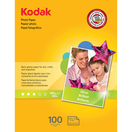 "Kodak Glossy Photo Paper (8.5 x 11"", 100 Sheets)"